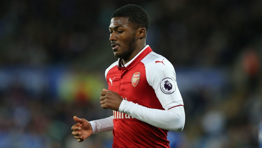 LEICESTER, ENGLAND - MAY 09: Ainsley Maitland-Niles of Arsenal during the Premier League match between Leicester City and Arsenal at The King Power Stadium on May 9, 2018 in Leicester, England. (Photo by James Williamson - AMA/Getty Images)