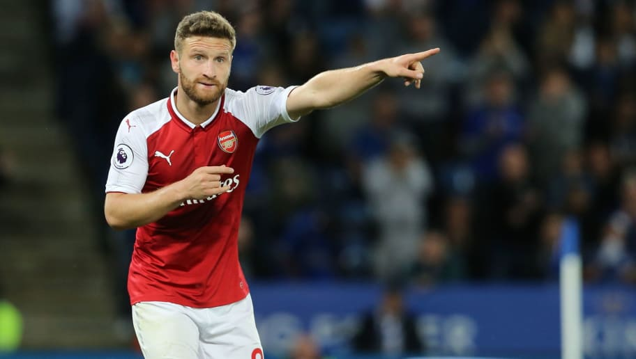 LEICESTER, ENGLAND - MAY 09: Shkodran Mustafi of Arsenal during the Premier League match between Leicester City and Arsenal at The King Power Stadium on May 9, 2018 in Leicester, England. (Photo by James Williamson - AMA/Getty Images)