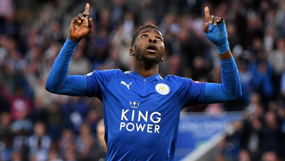 LEICESTER, ENGLAND - MAY 09:  Kelechi Iheanacho of Leicester City celebrates after scoring his sides first goal during the Premier League match between Leicester City and Arsenal at The King Power Stadium on May 9, 2018 in Leicester, England.  (Photo by Shaun Botterill/Getty Images)
