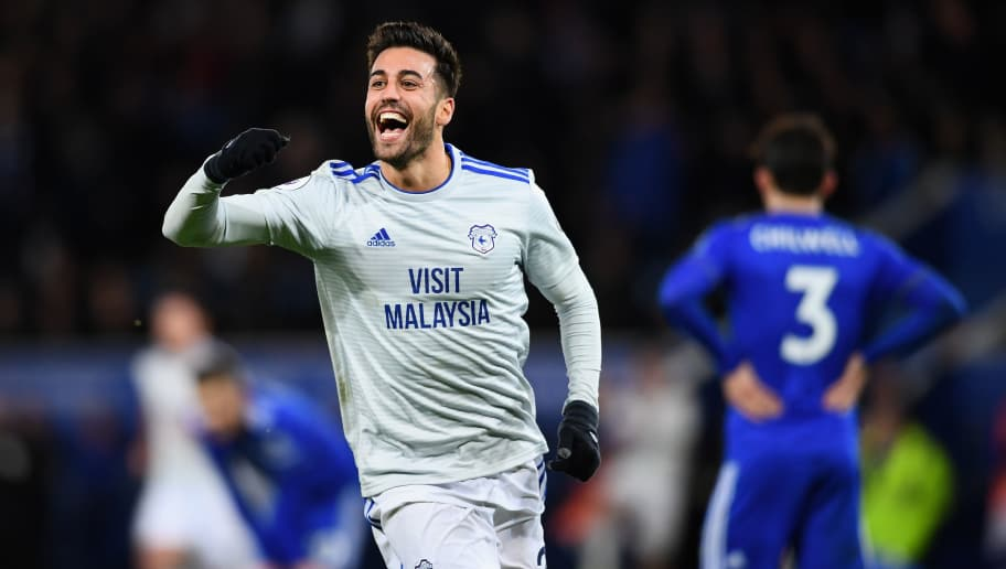 LEICESTER, ENGLAND - DECEMBER 29:  Victor Camarasa of Cardiff City celebrates after scoring his sides first goal during the Premier League match between Leicester City and Cardiff City at The King Power Stadium on December 29, 2018 in Leicester, United Kingdom.  (Photo by Clive Mason/Getty Images)