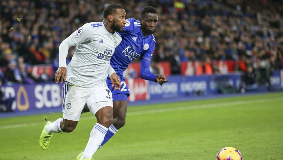LEICESTER, ENGLAND - DECEMBER 29: Junior Hoilett of Cardiff City FC and Wilfred Ndidi of Leicester City during the Premier League match between Leicester City and Cardiff City at The King Power Stadium on December 29, 2018 in Leicester, United Kingdom. (Photo by Cardiff City FC/Getty Images)