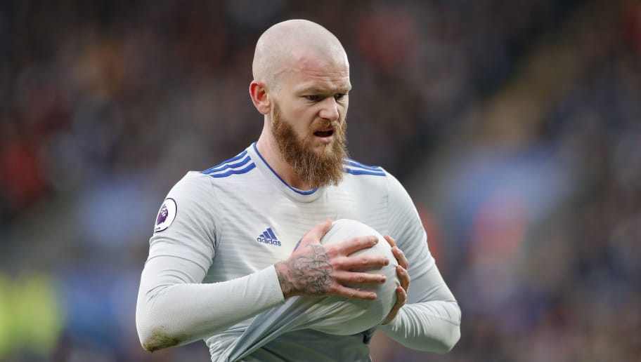 LEICESTER, ENGLAND - DECEMBER 29: Aron Gunnarsson of Cardiff  City prepares to take a throw-in during the Premier League match between Leicester City and Cardiff City at The King Power Stadium on December 29, 2018 in Leicester, United Kingdom. (Photo by Malcolm Couzens/Getty Images)