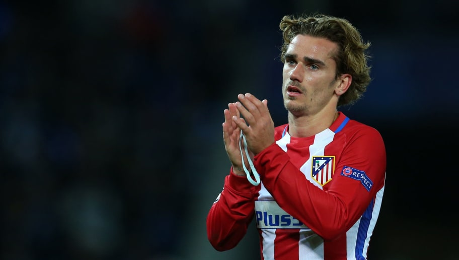 LEICESTER, ENGLAND - APRIL 18: Antoine Griezmann of Atletico Madrid applauds after the UEFA Champions League Quarter Final second leg match between Leicester City and Club Atletico de Madrid at The King Power Stadium on April 18, 2017 in Leicester, United Kingdom. (Photo by Catherine Ivill - AMA/Getty Images)