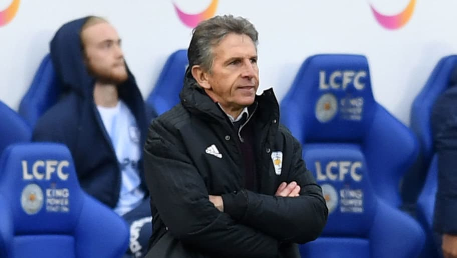 LEICESTER, ENGLAND - OCTOBER 06:  Claude Puel, Manager of Leicester City looks on during the Premier League match between Leicester City and Everton FC at The King Power Stadium on October 6, 2018 in Leicester, United Kingdom.  (Photo by Michael Regan/Getty Images)