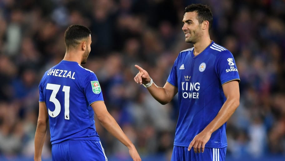 LEICESTER, ENGLAND - AUGUST 28:  Rachid Ghezzal of Leicester City (left) celebrates with team mate Vicente Iborra of Leicester City (right) after scoring his team's fourth goal during the Carabao Cup Second Round match between Leicester City and Fleetwood Town at The King Power Stadium on August 28, 2018 in Leicester, England.  (Photo by Michael Regan/Getty Images)