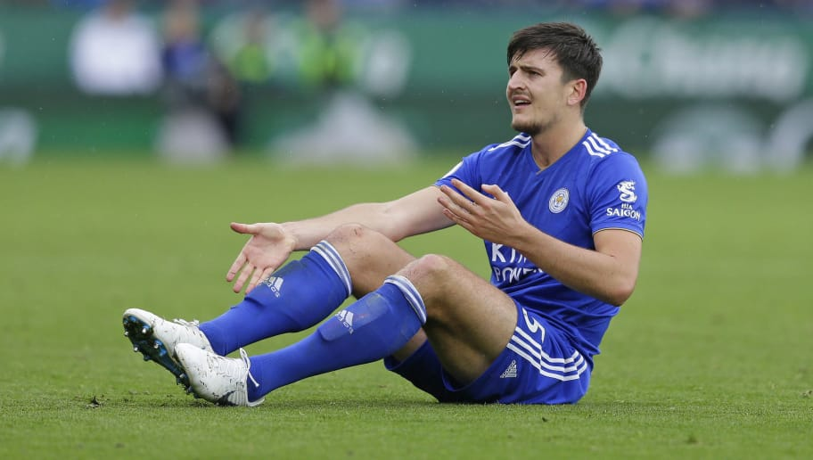 LEICESTER, ENGLAND - SEPTEMBER 22: Harry Maguire of Leicester City during the Premier League match between Leicester City and Huddersfield Town at The King Power Stadium on September 22, 2018 in Leicester, United Kingdom. (Photo by Henry Browne/Getty Images)