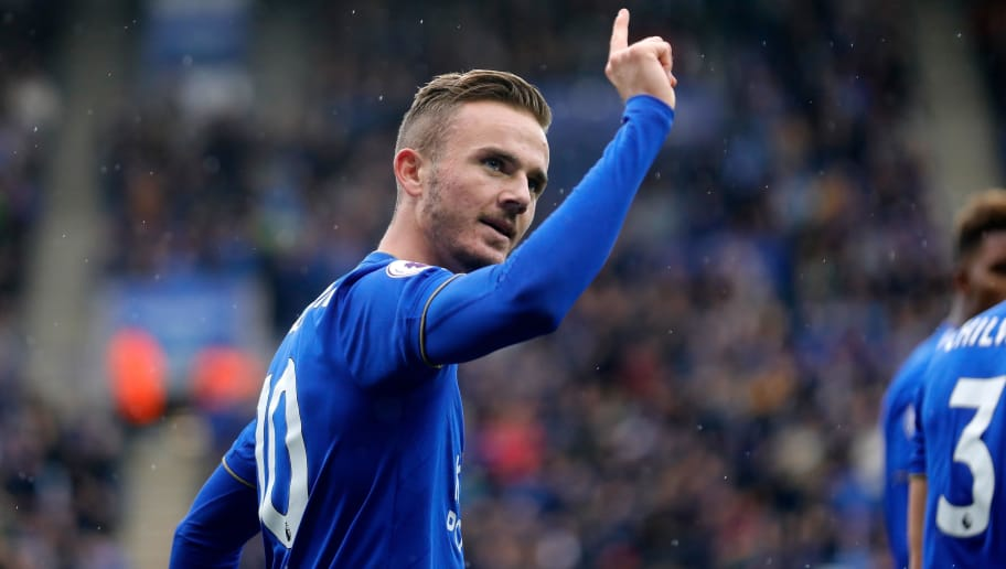 LEICESTER, ENGLAND - SEPTEMBER 22: James Maddison of Leicester City celebrates following his goal during the Premier League match between Leicester City and Huddersfield Town at The King Power Stadium on September 22, 2018 in Leicester, United Kingdom. (Photo by Malcolm Couzens/Getty Images)
