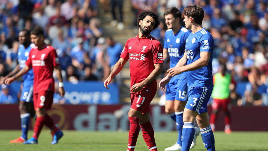 LEICESTER, ENGLAND - SEPTEMBER 01: Mohamed Salah of Liverpool and Ben Chilwell of Leicester City during the Premier League match between Leicester City and Liverpool FC at The King Power Stadium on September 1, 2018 in Leicester, United Kingdom. (Photo by James Williamson - AMA/Getty Images)