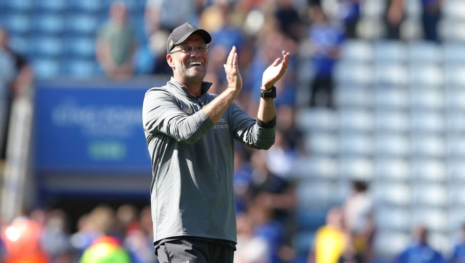 LEICESTER, ENGLAND - SEPTEMBER 01: Liverpool manager \ head coach Jurgen Klopp during the Premier League match between Leicester City and Liverpool FC at The King Power Stadium on September 1, 2018 in Leicester, United Kingdom. (Photo by James Williamson - AMA/Getty Images)