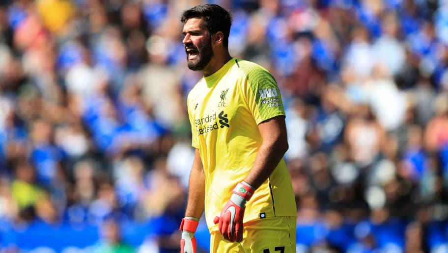 LEICESTER, ENGLAND - SEPTEMBER 01:  Liverpool goalkeeper Alisson during the Premier League match between Leicester City and Liverpool FC at The King Power Stadium on September 1, 2018 in Leicester, United Kingdom. (Photo by Marc Atkins/Getty Images)