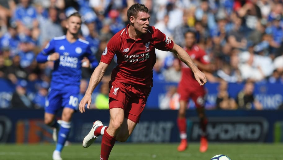 LEICESTER, ENGLAND - SEPTEMBER 01:  James Milner of Liverpool runs with the ball during the Premier League match between Leicester City and Liverpool FC at The King Power Stadium on September 1, 2018 in Leicester, United Kingdom.  (Photo by Shaun Botterill/Getty Images)