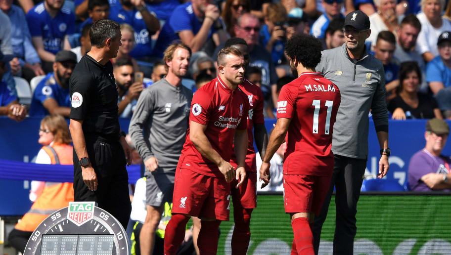 LEICESTER, ENGLAND - SEPTEMBER 01:  Mohamed Salah is substituted for Xherdan Shaqiri of Liverpool during the Premier League match between Leicester City and Liverpool FC at The King Power Stadium on September 1, 2018 in Leicester, United Kingdom.  (Photo by Shaun Botterill/Getty Images)