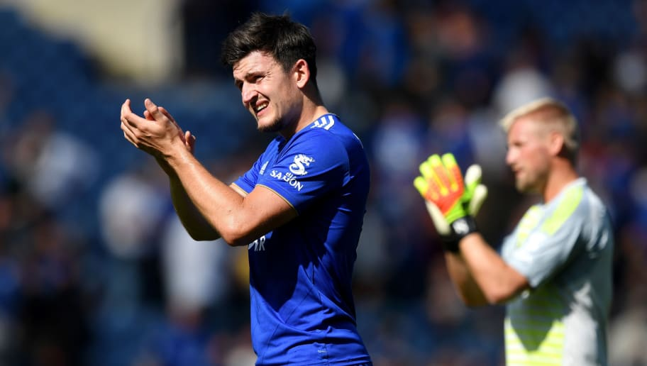 LEICESTER, ENGLAND - SEPTEMBER 01:  Harry Maguire of Leicester City applauds fans after the Premier League match between Leicester City and Liverpool FC at The King Power Stadium on September 1, 2018 in Leicester, United Kingdom.  (Photo by Shaun Botterill/Getty Images)