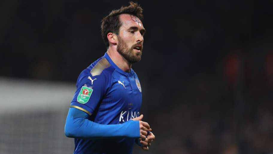 LEICESTER, ENGLAND - DECEMBER 19:  Christian Fuchs of Leicester City during the Carabao Cup Quarter-Final match between Leicester City and Manchester City at The King Power Stadium on December 19, 2017 in Leicester, England. (Photo by Catherine Ivill/Getty Images)