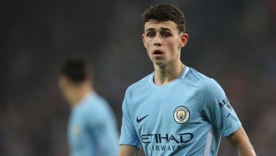 LEICESTER, ENGLAND - DECEMBER 19: Phil Foden of Manchester City during the Carabao Cup Quarter-Final match between here Leicester City v Manchester City at The King Power Stadium on December 19, 2017 in Leicester, England. (Photo by Robbie Jay Barratt - AMA/Getty Images)