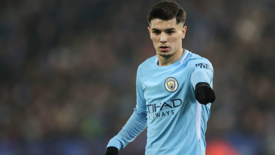 LEICESTER, ENGLAND - DECEMBER 19: Brahim Diaz of Manchester City during the Carabao Cup Quarter-Final match between here Leicester City v Manchester City at The King Power Stadium on December 19, 2017 in Leicester, England. (Photo by Robbie Jay Barratt - AMA/Getty Images)