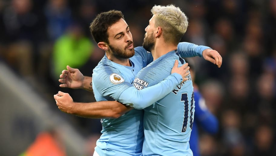 LEICESTER, ENGLAND - DECEMBER 26:  Bernardo Silva of Manchester City celebrates after scoring his team's first goal with Sergio Aguero of Manchester City during the Premier League match between Leicester City and Manchester City at The King Power Stadium on December 26, 2018 in Leicester, United Kingdom.  (Photo by Shaun Botterill/Getty Images)