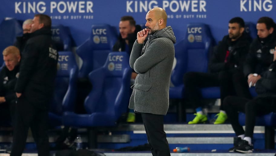 LEICESTER, ENGLAND - DECEMBER 26:  Josep Guardiola, Manager of Manchester City looks dejected during the Premier League match between Leicester City and Manchester City at The King Power Stadium on December 26, 2018 in Leicester, United Kingdom.  (Photo by Catherine Ivill/Getty Images)