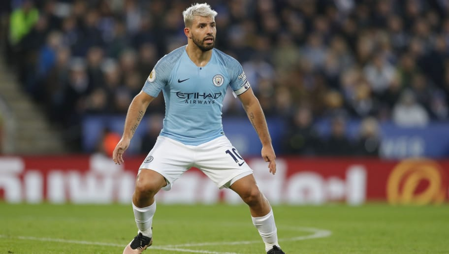LEICESTER, ENGLAND - DECEMBER 26: Sergio Aguero of Manchester City in action during the Premier League match between Leicester City and Manchester City at The King Power Stadium on December 26, 2018 in Leicester, United Kingdom. (Photo by Malcolm Couzens/Getty Images)