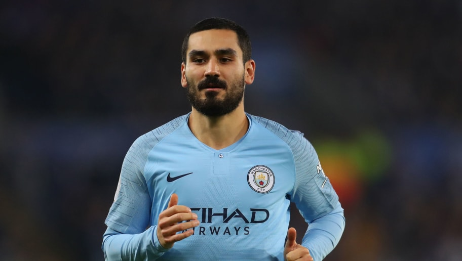 LEICESTER, ENGLAND - DECEMBER 26: Ilkay Gundogan of Manchester City  during the Premier League match between Leicester City and Manchester City at The King Power Stadium on December 26, 2018 in Leicester, United Kingdom. (Photo by Catherine Ivill/Getty Images)
