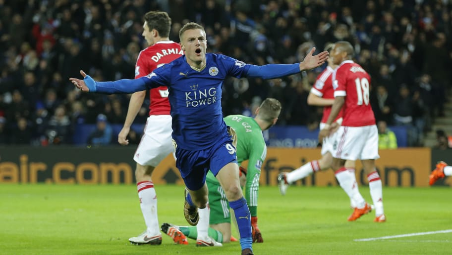 Jamie Vardy celebrates scoring the first goal of the game and thus creates a new Premier League record by scoring for the 11th consecutive game during the Leicester City v Manchester United F.A. Premier League match at the King Power Stadium on November 28th 2015 in Leicester (Photo by Tom Jenkins/Getty Images)