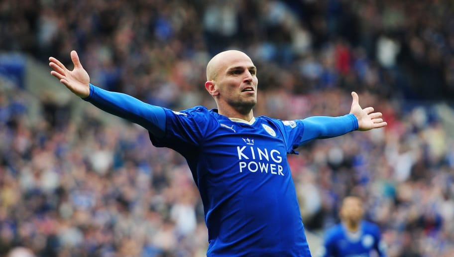 LEICESTER, ENGLAND - MAY 24:  Esteban Cambiasso of Leicester City celebrates scoring his team's fourth goal during the Barclays Premier League match between Leicester City and Queens Park Rangers at The King Power Stadium on May 24, 2015 in Leicester, England.  (Photo by Dan Mullan/Getty Images)