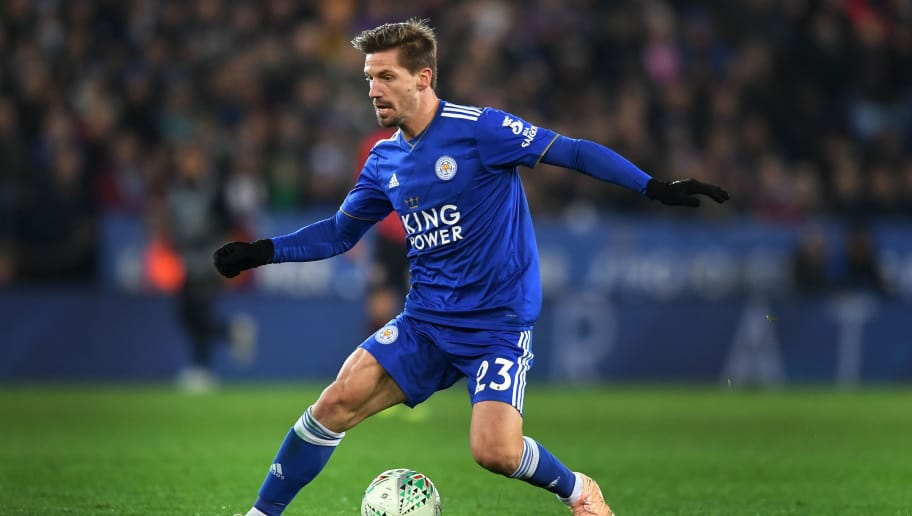 LEICESTER, ENGLAND - NOVEMBER 27: Adrien Silva of Leicester City during the Carabao Cup Fourth Round match between Leicester City and Southampton at The King Power Stadium on November 27, 2018 in Leicester, England. (Photo by Michael Regan/Getty Images)