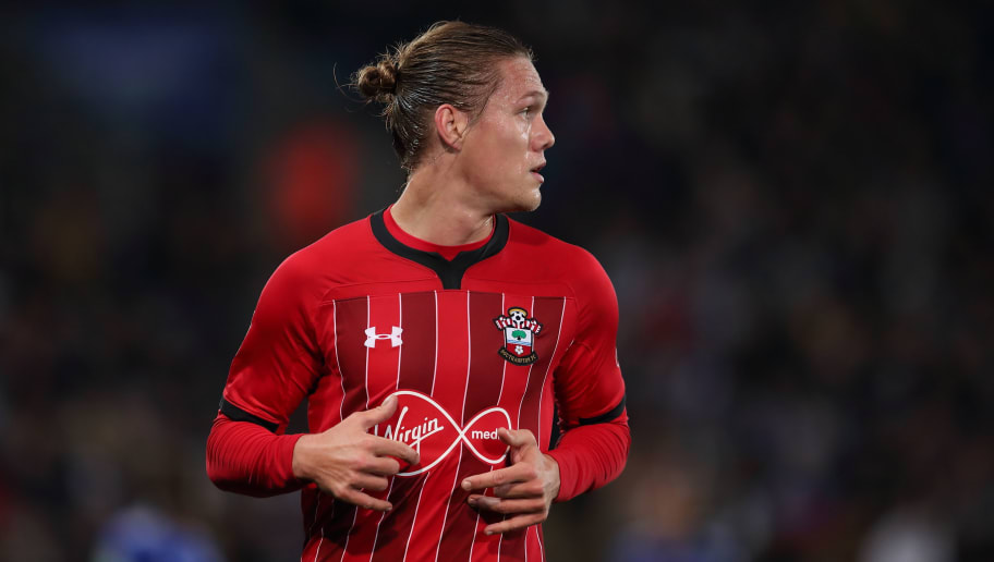 LEICESTER, ENGLAND - NOVEMBER 27: Jannik Vestergaard of Southampton during the Carabao Cup Fourth Round match between Leicester City and Southampton at The King Power Stadium on November 27, 2018 in Leicester, England. (Photo by James Williamson - AMA/Getty Images)