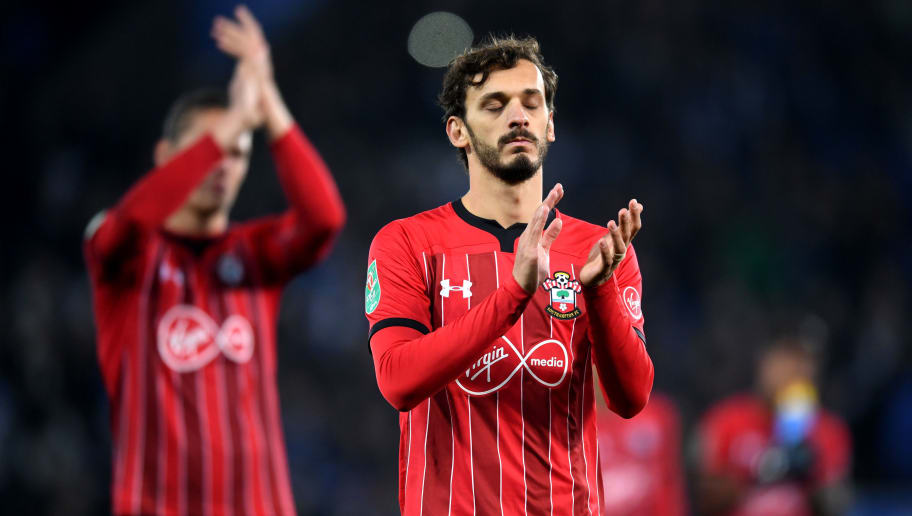 LEICESTER, ENGLAND - NOVEMBER 27:  Manolo Gabbiadini of Southampton looks dejected after defeat in the penalty shoot out during the Carabao Cup Fourth Round match between Leicester City and Southampton at The King Power Stadium on November 27, 2018 in Leicester, England.  (Photo by Michael Regan/Getty Images)