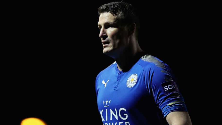 LEICESTER, ENGLAND - JANUARY 03:  Robert Huth of Leicester City looks on during the Premier League 2 match between Leicester City and Tottenham Hotspur at Holmes Park on January 3, 2018 in Leicester, England.  (Photo by Matthew Lewis/Getty Images)