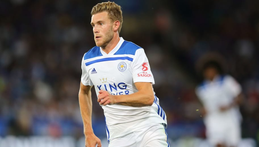 LEICESTER, ENGLAND - AUGUST 01: Callum Elder of Leicester City during the Pre-Season Friendly between Leicester City and Valencia at The King Power Stadium on August 1, 2018 in Leicester, England. (Photo by James Williamson - AMA/Getty Images)
