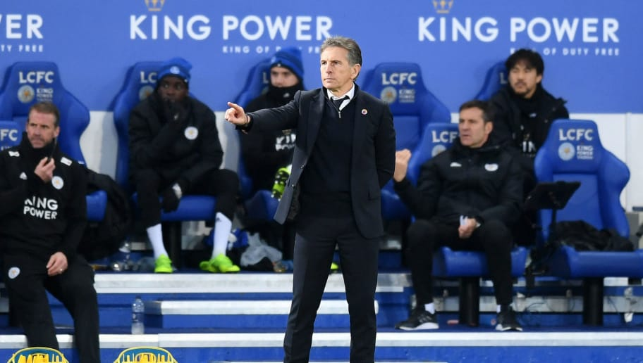 LEICESTER, ENGLAND - DECEMBER 01:  Claude Puel, Manager of Leicester City gives his team instructions during the Premier League match between Leicester City and Watford FC at The King Power Stadium on December 1, 2018 in Leicester, United Kingdom.  (Photo by Michael Regan/Getty Images)
