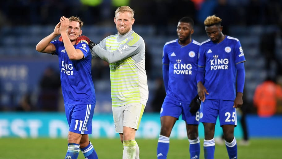 LEICESTER, ENGLAND - DECEMBER 01:  Marc Albrighton of Leicester City and Kasper Schmeichel of Leicester City celebrate following their sides victory in the Premier League match between Leicester City and Watford FC at The King Power Stadium on December 1, 2018 in Leicester, United Kingdom.  (Photo by Michael Regan/Getty Images)