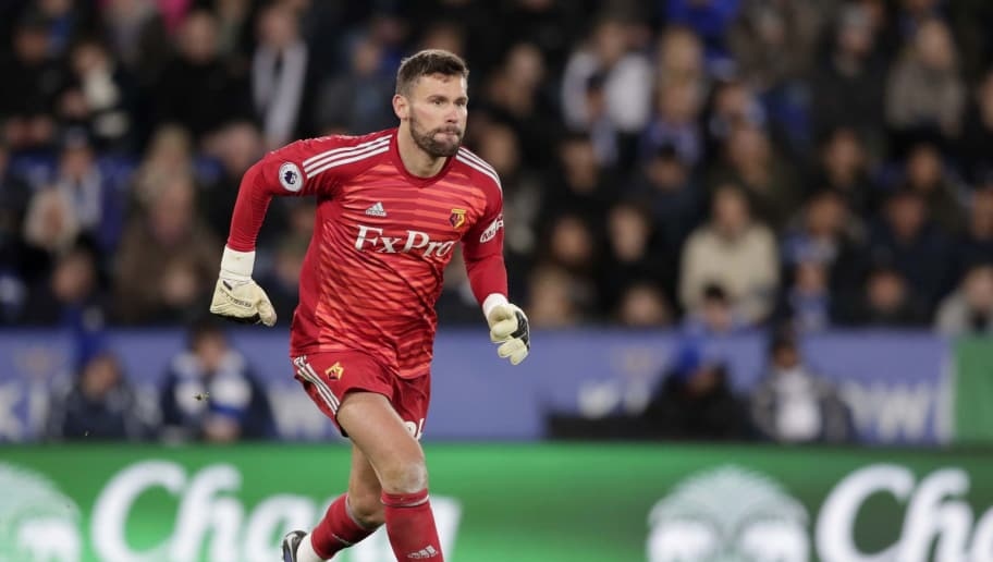 LEICESTER, ENGLAND - DECEMBER 01: Ben Foster of Watford  during the Premier League match between Leicester City and Watford FC at The King Power Stadium on December 01, 2018 in Leicester, United Kingdom. (Photo by Malcolm Couzens/Getty Images)