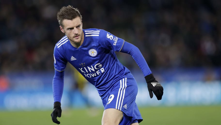 LEICESTER, ENGLAND - DECEMBER 01: Jamie Vardy of Leicester City during the Premier League match between Leicester City and Watford FC at The King Power Stadium on December 01, 2018 in Leicester, United Kingdom. (Photo by Malcolm Couzens/Getty Images)