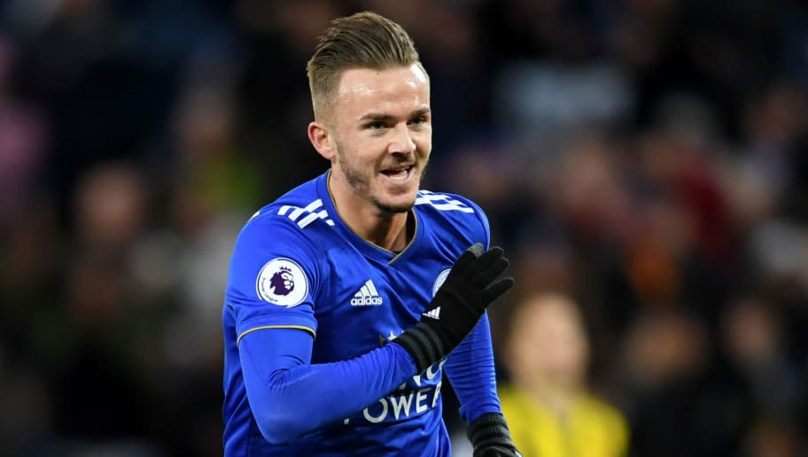 LEICESTER, ENGLAND - DECEMBER 01:  James Maddison of Leicester City celebrates after scoring his team's second goal during the Premier League match between Leicester City and Watford FC at The King Power Stadium on December 1, 2018 in Leicester, United Kingdom.  (Photo by Ross Kinnaird/Getty Images)