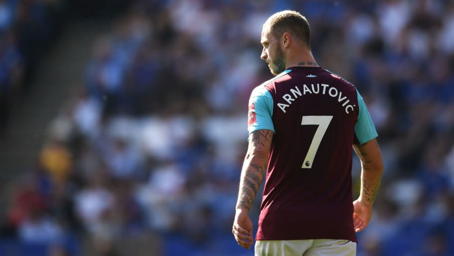 LEICESTER, ENGLAND - MAY 05:  Marko Arnautovic of West Ham United looks on during the Premier League match between Leicester City and West Ham United at The King Power Stadium on May 5, 2018 in Leicester, England.  (Photo by Laurence Griffiths/Getty Images)