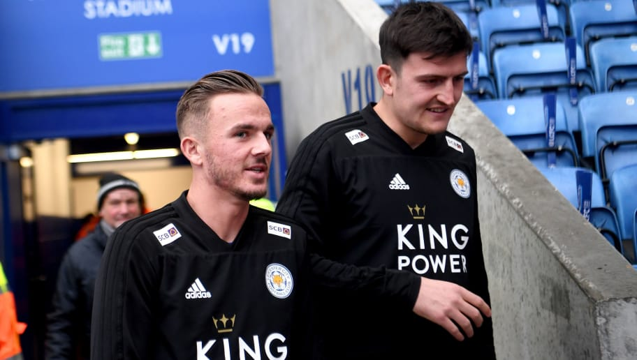 LEICESTER, ENGLAND - OCTOBER 27:  James Maddison and Harry Maguire of Leicester City walk out to inspect the pitch prior to the Premier League match between Leicester City and West Ham United at The King Power Stadium on October 27, 2018 in Leicester, United Kingdom.  (Photo by Michael Regan/Getty Images)