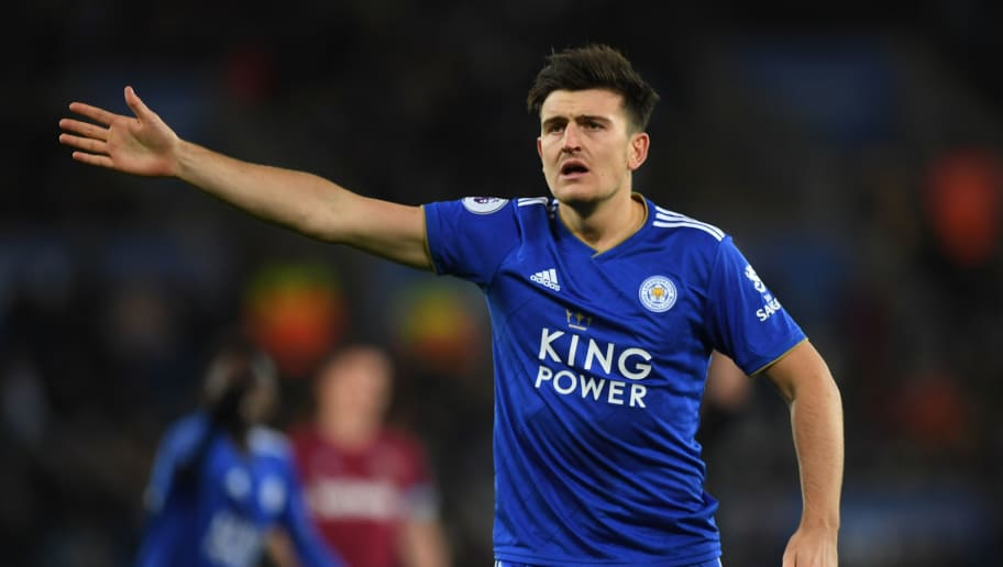 LEICESTER, ENGLAND - OCTOBER 27:   Harry Maguire of Leicester City reacts during the Premier League match between Leicester City and West Ham United at The King Power Stadium on October 27, 2018 in Leicester, United Kingdom. (Photo by Shaun Botterill/Getty Images)