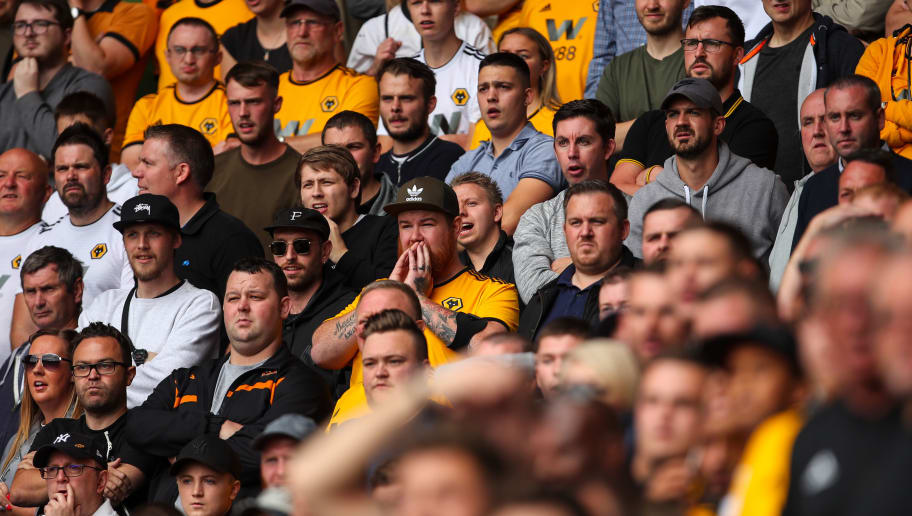 LEICESTER, ENGLAND - AUGUST 18: Fans of Wolverhampton Wanderers look on  during the Premier League match between Leicester City and Wolverhampton Wanderers at The King Power Stadium on August 18, 2018 in Leicester, United Kingdom. (Photo by Sam Bagnall - AMA/Getty Images)