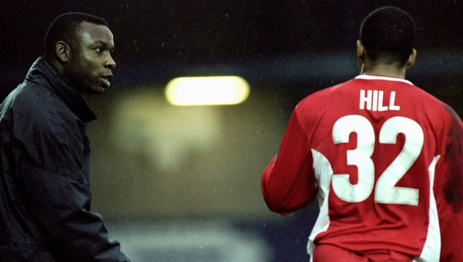 29 Jan 2000:  Leroy Rosenior instructs Matt Hill of Bury during the Nationwide Division Two match against Bristol City played at Gigg Lane in Bury, England. The game ended goalless. \ Picture by Paul Atherton. \ Mandatory Credit: AllsportUK  /Allsport