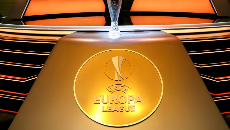 The UEFA Europa League Trophy is displayed during the draw for UEFA Europa League football tournament at The Grimaldi Forum in Monaco on August 31, 2018. (Photo by Valery HACHE / AFP)        (Photo credit should read VALERY HACHE/AFP/Getty Images)