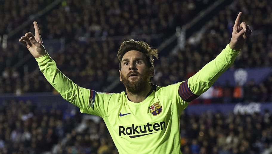 VALENCIA, SPAIN - DECEMBER 16: Lionel Messi of Barcelona celebrates after scoring his sides second goal during the La Liga match between Levante UD and FC Barcelona at Ciutat de Valencia on December 16, 2018 in Valencia, Spain. (Photo by Quality Sport Images/Getty Images)