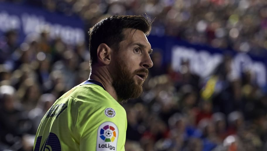VALENCIA, SPAIN - DECEMBER 16: Lionel Messi of Barcelona looks on during the La Liga match between Levante UD and FC Barcelona at Ciutat de Valencia on December 16, 2018 in Valencia, Spain. (Photo by Quality Sport Images/Getty Images)