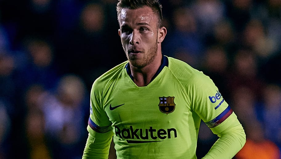 VALENCIA, SPAIN - DECEMBER 16: Arthur Melo of FC Barcelona in action during the La Liga match between Levante UD and FC Barcelona at Ciutat de Valencia on December 16, 2018 in Valencia, Spain. (Photo by David Aliaga/MB Media/Getty Images)