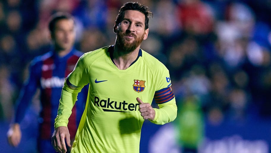 VALENCIA, SPAIN - DECEMBER 16: Lionel Messi of FC Barcelona celebrates his side's third goal during the La Liga match between Levante UD and FC Barcelona at Ciutat de Valencia on December 16, 2018 in Valencia, Spain. (Photo by David Aliaga/MB Media/Getty Images)