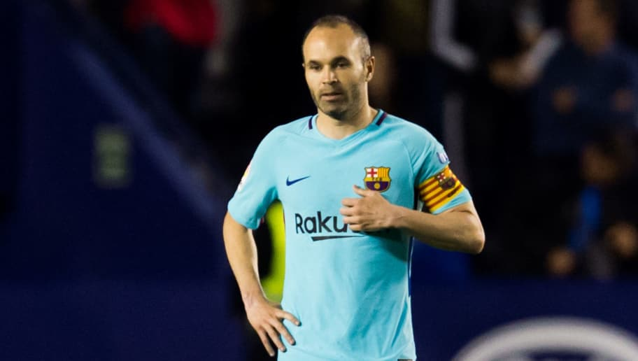 VALENCIA, SPAIN - MAY 13:  Andres Iniesta of FC Barcelona reacts during the La Liga match between Levante UD and FC Barcelona at Estadi Ciutat de Valencia on May 13, 2018 in Valencia, Spain.  (Photo by Alex Caparros/Getty Images)