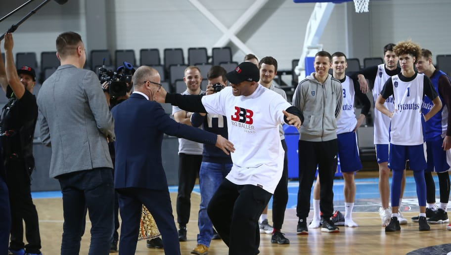 PRIENAI, LITHUANIA - JANUARY 05:  LaVar Ball, father of LaMelo and LiAngelo Ball is greated by a team official during a first training session with Lithuania Basketball team Vytautas Prienai on January 5, 2018 in Prienai, Lithuania.  (Photo by Alius Koroliovas/Getty Images)