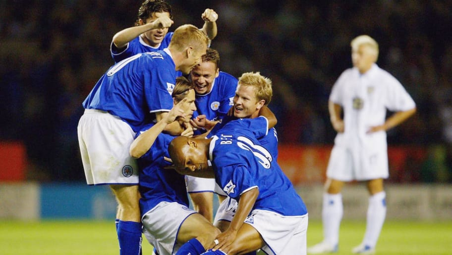 LEICESTER, ENGLAND - SEPTEMBER 15:  Lilian Nalis of Leicester celebrates his goal during the FA Barclaycard Premiership match between Leicester City and Leeds United at the Walkers Stadium on September 15, 2003 in Leicester, England. (Photo by Jamie McDonald/Getty Images)