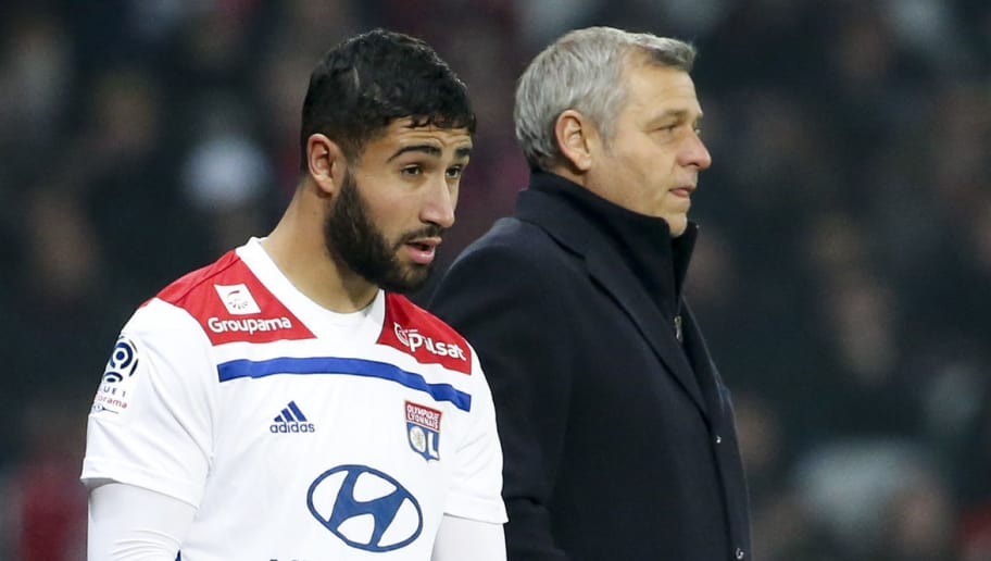 LILLE, FRANCE - DECEMBER 1: Nabil Fekir, coach of Lyon Bruno Genesio during the french Ligue 1 match between Lille OSC (LOSC) and Olympique Lyonnais (OL) at Stade Pierre Mauroy on December 1, 2018 in Lille, France. (Photo by Jean Catuffe/Getty Images)